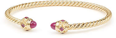 David Yurman 18k Gold Renaissance CableSpira Bangle Bracelet w/ Rubies, Size M