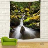 Vipsung House Decor Tapestry_Nature Deep Down In The Forest With Stream By Mossed Rocks Jungle Park Landscape Fern And Army Green_Wall Hanging For Bedroom Living Room Dorm