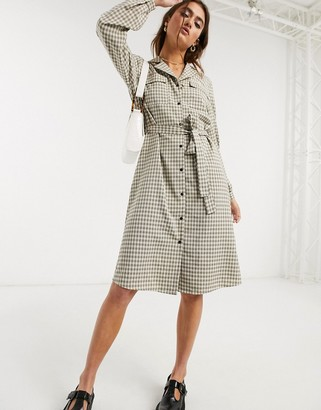 Object utility shirt dress in check print