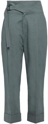 Brunello Cucinelli Cropped Linen And Cotton-blend Straight-leg Pants