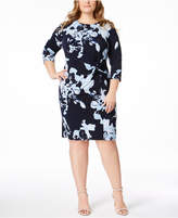 INC International Concepts I.n.c. Plus Size Printed Twist-Front Dress, Created for Macy's