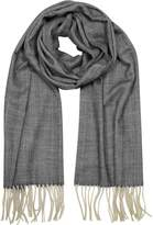 Mila Schon Herringbone Cashmere, wool and Silk Fringed Long Scarf