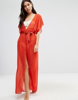 Asos Chiffon Maxi Beach Caftan with Satin Belt