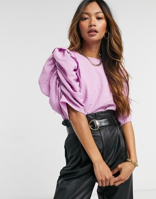 Vero Moda blouse with exaggerated sleeves in lilac