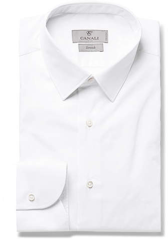 Canali White Slim-Fit Stretch Cotton-Blend Shirt