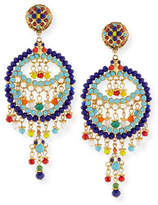 Jose & Maria Barrera Beaded Fringe Circle Drop Clip Earrings