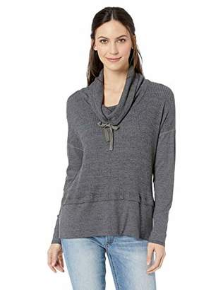 Three Dots Women's NN2779 Chunky Heather Thermal Boxy Cowl Neck
