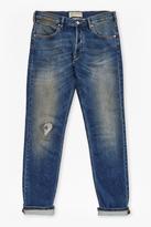 Plaited Stretch Distressed Straight Leg Jeans