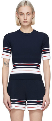 Thom Browne Navy Double Cricket High Rib Sweater