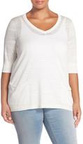 Sejour Patch Pocket V-Neck Pullover (Plus Size)
