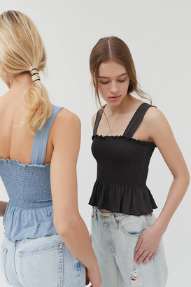 Urban Outfitters Demi Smocked Peplum Tank Top