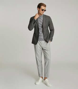 Reiss Atherton - Dogtooth Slim Fit Blazer in Brown