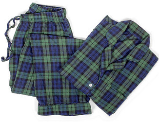 One Kings Lane Cotton Pajama Set - Black Watch Plaid - XS/small