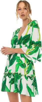 MC2 Saint Barth Tropical Leaves Print Short Dress