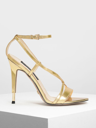 Charles & Keith Metallic Leather Criss Cross Sandals