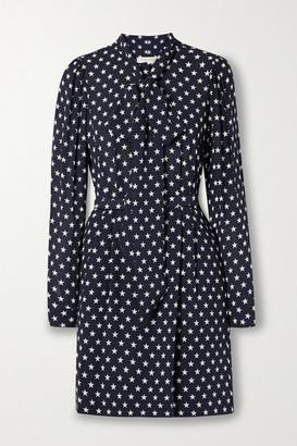 Michael Kors Pussy-bow Belted Printed Silk Mini Dress - Midnight blue