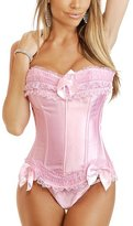 ZAMME Women's Brocade Satin Feel Burlesque/Bridal Strapless Corset/Thong Lingerie Set