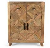 Bungalow Rose Bordeaux Boho Handcrafted Mango Wood 2 Door 2 Drawer Cabinet