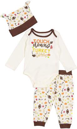 Baby Starters Infant Bodysuits Ivory - White & Brown 'Turkey Time' Bodysuit Set - Infant