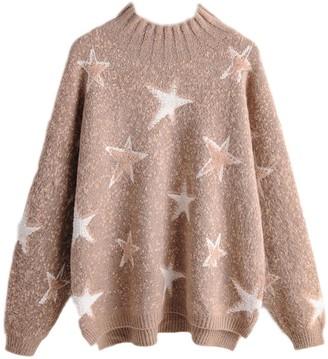 Goodnight Macaroon 'Elaine' Star Print Crewneck Sweater (2 Colors)