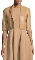Michael Kors Half-Sleeve Cropped Leather Jacket