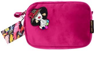 Glamorous Bright Pink Velvet Bag With Beaded Lady