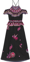 Temperley London Wildflower Cold-shoulder Embroidered Cotton And Silk-blend Midi Dress - Black