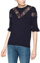 Warehouse Women's Lace Insert Frill Cuff Jumper