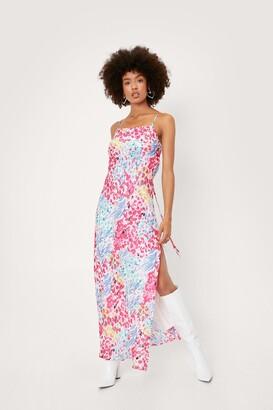 Nasty Gal Womens Abstract Print Satin Maxi Slip Dress - Purple - 4
