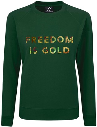 Angelika Jozefczyk Sweatshirt Freedom Is Gold Green