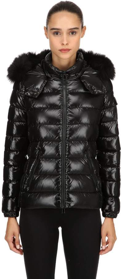 Moncler Bady Laqué Nylon Down Jacket W/ Fur