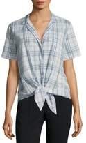 Equipment Short Sleeve Cotton Tie Blouse