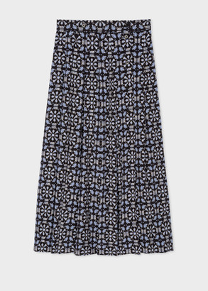 Paul Smith Women's 'Geometric' Print Pleated Silk Midi Skirt