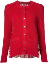 Sacai chiffon insert cardigan - women - Cotton/Polyester - 3