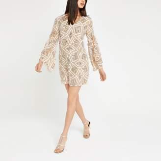 River Island Womens Beige sequin embellished shift dress