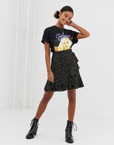 Soaked In Luxury metallic speckle ruffle skirt