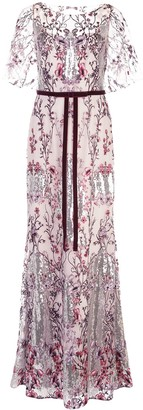 Marchesa Sequin Floral Embroidered Dress