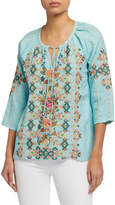 Johnny Was Petite Chandra Embroidered Linen Peasant Blouse