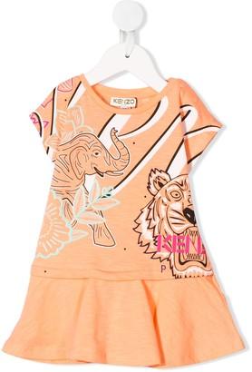 Kenzo Kids Tiger Print Cotton Dress