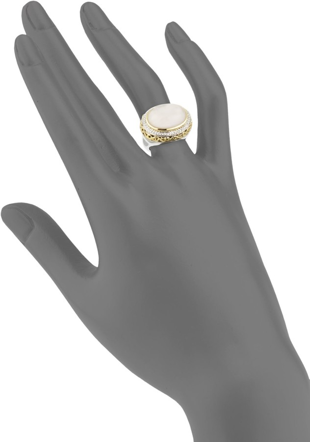 Charles Krypell Ivy Sterling Silver, 18K Yellow Gold, Diamond & Pink Mother-Of-Pearl Ring