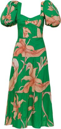 Johanna Ortiz Culture Puff-Sleeve Floral Cotton Midi Dress