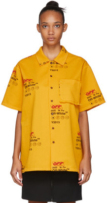 Off-White Yellow Industrial Holiday Short Sleeve Shirt