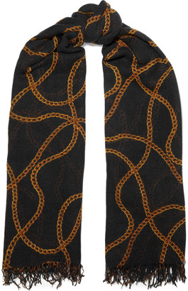Chan Luu Frayed Printed Cashmere And Silk-blend Scarf
