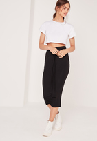 Missguided Tie Front Midi Skirt Black