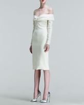 Wes Gordon Long-Sleeve Drop-Shoulder Dress