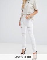 Asos Ridley Full Length High Waist Skinny Jeans in White with Shredded Rips