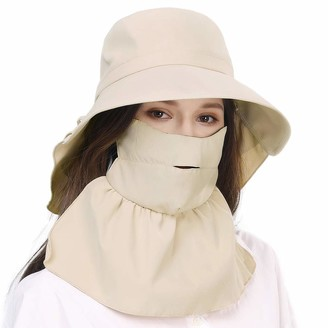 Jeff & Aimy Packable Cotton Gardening Sun Hat for Women SPF Protection Neck Shade Chin Strap 56-58cm
