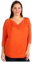 MICHAEL Michael Kors Plus Size 3/4 Sleeve Cowl Neck Top (Orange Spice) - Apparel