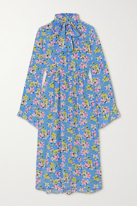 Les Rêveries Pussy-bow Floral-print Silk-crepe Midi Dress - Blue