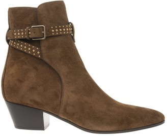 Saint Laurent Jodhpur West Ankle Boot In Brown Suede With Studs